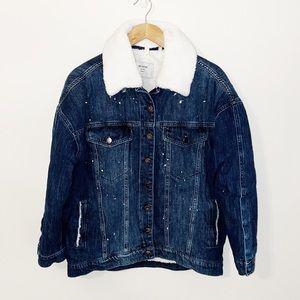 ONEXONETEASPOON Denim Jacket Faux Fur Lined